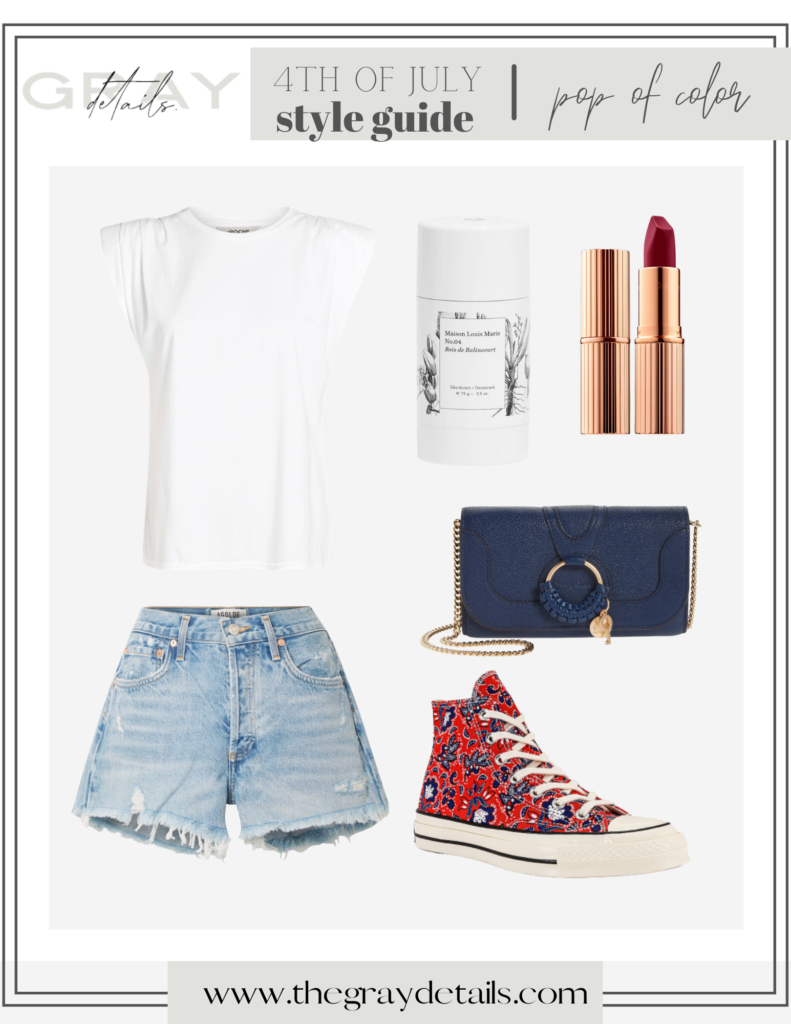 casual summer outfit for 4th of July, summer shoes, red, white and blue