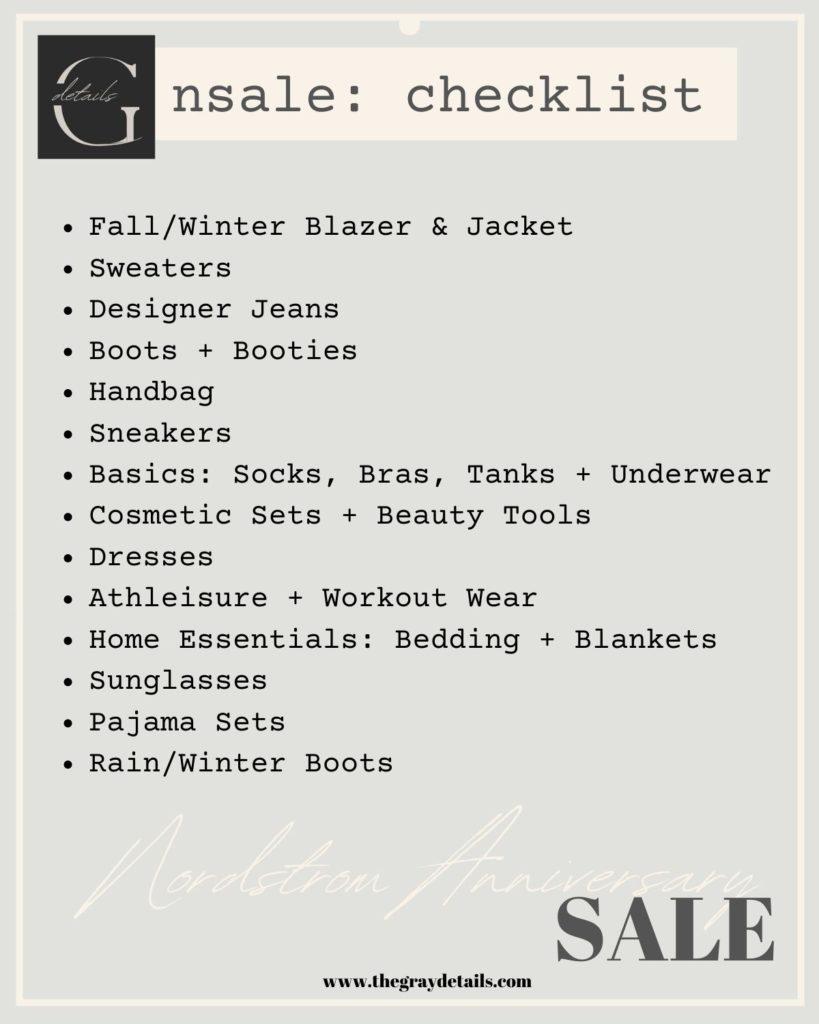 Nordstrom Anniversary Sale, shopping checklist